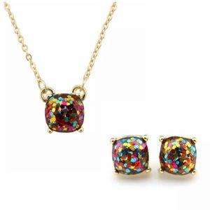 Rainbow Glitter dot necklace & Earrings